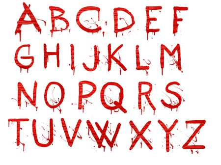 bleeding: Letters dripping with blood on white background