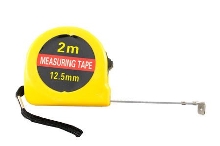 chorme: Yellow Tape Measure Isolated In White