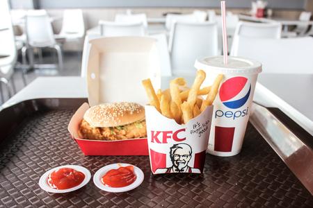 KUALA KANGSAR, MALAYSIA - NOVEMBER 16, 2017: A set of Zinger  Combo burger set serve in KFC Kuala Kangsar Branches.