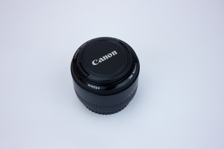 Kajang, Malaysia - 17 FEBRUARY 2017: Closeup shot of Canon Lens 50mm on white background