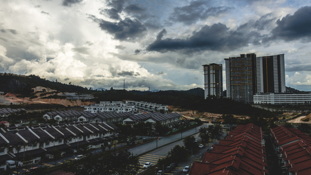 Scenery shot of houses and apartment in residential area located in Kajang, Selangor