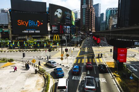 Kuala Lumpur, Malaysia - July 6th 2019 : Scenery of Busy City in Bukit Bintang located in Kuala Lumpur, Malaysia Publikacyjne