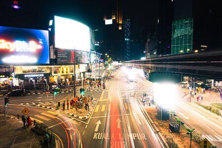 Kuala Lumpur, Malaysia - August 18th 2019 : Timelapse motion of Bukit Bintang during nighttime located in Kuala Lumpur, Malaysia Publikacyjne