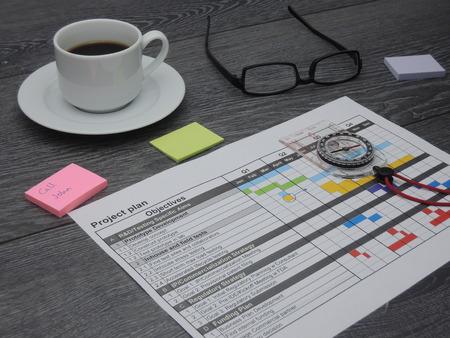 Kompas ter illustratie van de instelling van richting met een projectplan