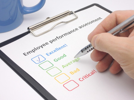 Rating Excellent In An Employee Performance Assessment Stock Photo