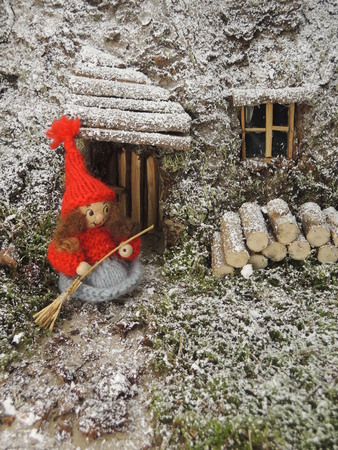 instance: Gnome in front of cosy home in the forest. Can for instance be used as a christmas card