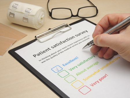 survey: Rating excellent! in a patient satisfaction survey to assess the level of medical service Stock Photo