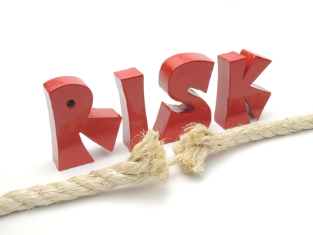 Risk of breaking - illustrated by frayed rope. Banque d'images