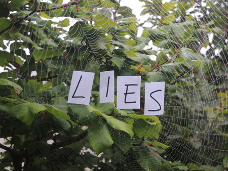 falsehood: Tangled web of lies illustrated by the text Lies in a spiders web. Stock Photo