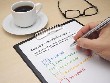 Rating ausgezeichnet! in einer Umfrage zur Kundenzufriedenheit Standard-Bild - 48805249