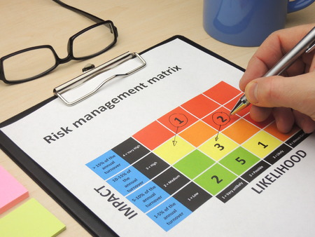 Identifying critical risk in a risk management matrix with the purpose of changing them. Stock Photo - 48805425