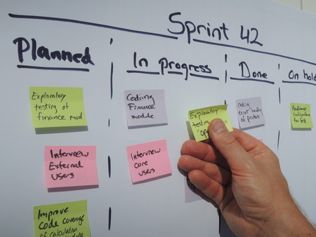 Moving a task on the sprint plan during daily scrum. Scrum is an agile project management method mostly applied to software development projects.