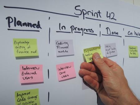 Mover una tarea en el plan de Sprint durante scrum diario. Scrum es un método de gestión de proyectos ágiles sobre todo aplicado a proyectos de desarrollo de software.
