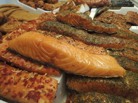 fish shop: Assorted selection of smoked fish in fish shop.