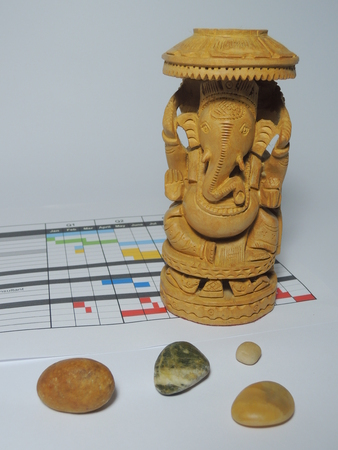 Der Projektleiter des Gottes - Ganesha - klarer von Hindernissen hier ist der Schutz der Projektplan. Standard-Bild - 48805609