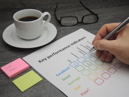 key: Assessment of the company on five key performance indicators Stock Photo