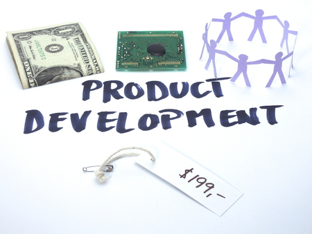 Four factors of product development. Financial resources, technological challenges, business case and market intelligence, and finally the organizational backing.