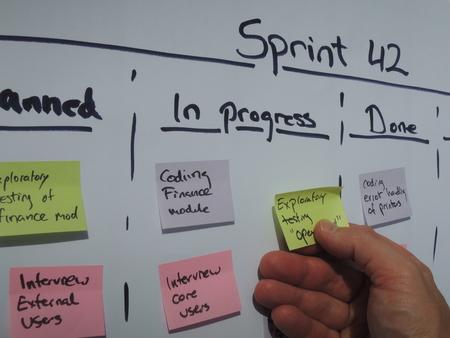 Déplacement d'une tâche sur le plan de sprint lors de mêlée quotidienne. Scrum est une méthode de gestion de projet agile principalement appliquée aux projets de développement de logiciels. Banque d'images - 48806833