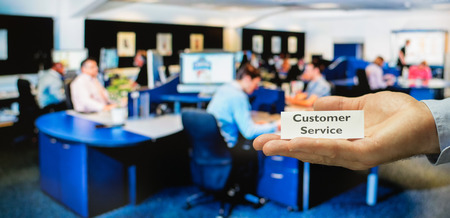 incoming: Customer service center ready for servicing incoming calls from customers Stock Photo