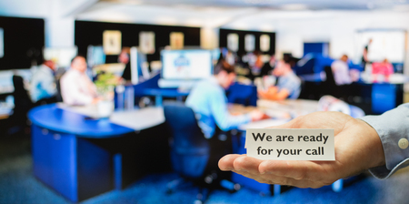 preferable: Service, support or call center ready for incoming calls to provide the best customer service Stock Photo