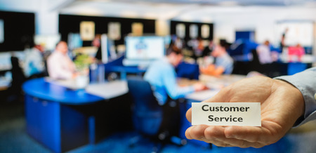 superiors: Customer service center ready for servicing incoming calls from customers Stock Photo