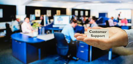 superiors: Customer support center ready for servicing incoming calls from customers Stock Photo