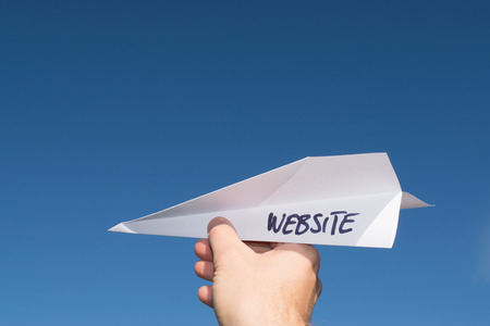 Conceptual illustration of launching a new website. Imagens