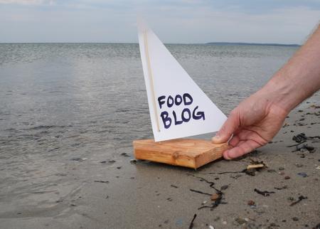 Abstracte illustratie van de lancering van een nieuw voedsel blog.