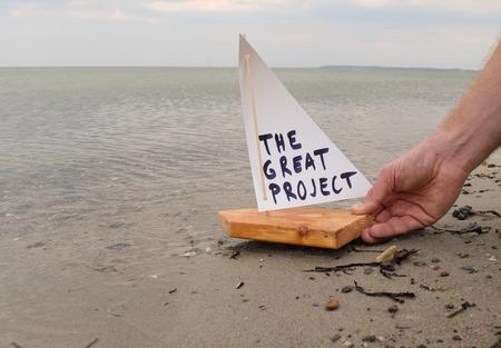 Abstracte illustratie van de lancering van het grote project