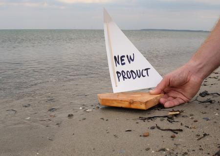 新製品の発売の抽象的なイラスト。 写真素材