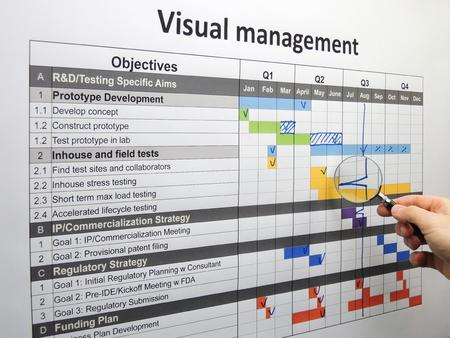 Inspectie van een backspike op het projectplan met behulp van visuele management. Stockfoto