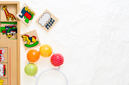 generic wooden toys with no copy rights, representing objects and animals decorations, suitable for infants to play