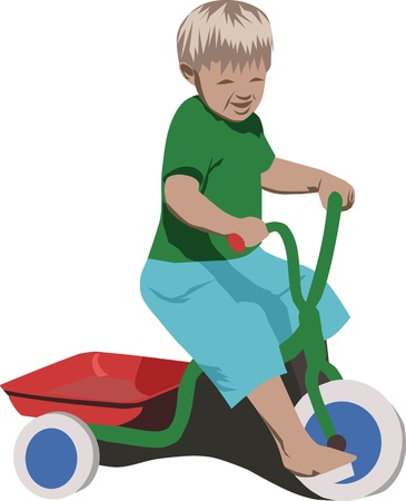 tricycle: boy with tricycle Illustration