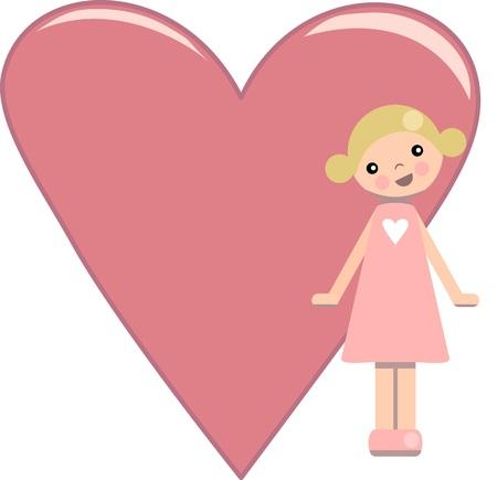 peg: Peg doll girl with pink heart Illustration
