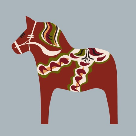 swedish: Swedish wooden horse painted in traditional color