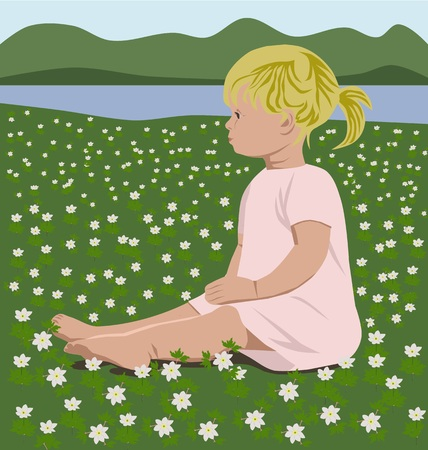 springtime: cute girl with wood anemones in springtime