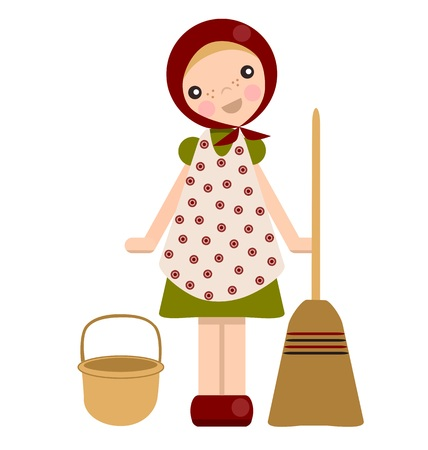 peg: Peg doll Easter witch with broom and basket
