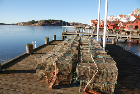 west  coast: Cages for seafood on the west coast of Sweden