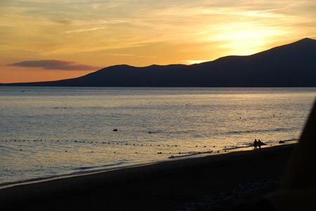 lanzarote: Orange sunset on Lanzarote