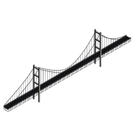 suspension bridge: Isometric suspension bridge Illustration