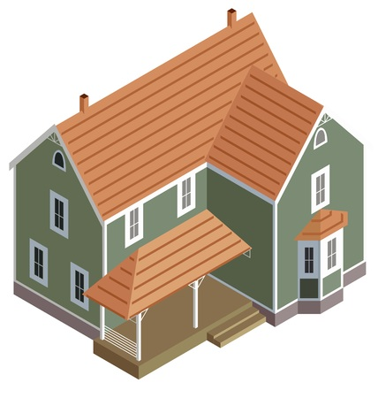 villas: Isometric home in green, vector Illustration