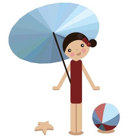 peg: Peg doll girl on the beach in summer, vector Illustration