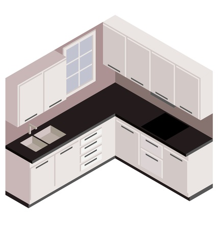 countertop: Isometric white kitchen, vector in 3D view Illustration