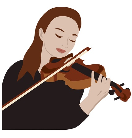 soloist: Woman playing violin, isolated vector Illustration