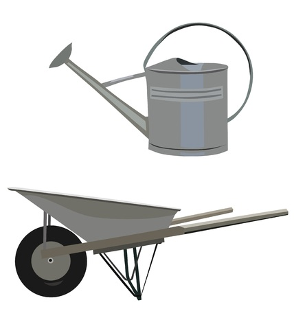 ewer: Garden set with wheelbarrow and ewer, isolated vector Illustration