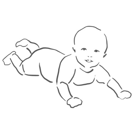 black baby boy: Baby playing on the floor sketch, isolated vector