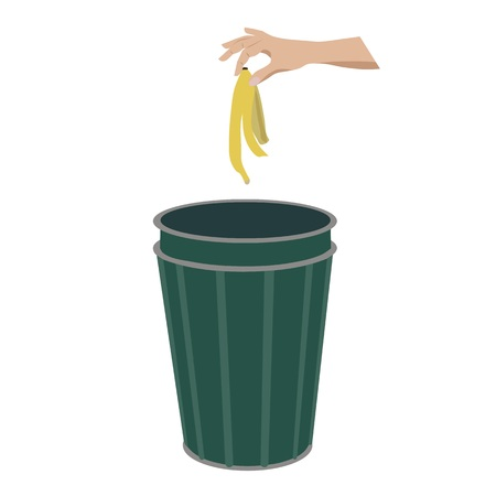 banana skin: Banana skin in litter bin, isolated vector