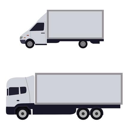 sideways: White trucks sideways, isolated vector