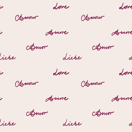 amore: Seamless pattern spelling love on pink, vector