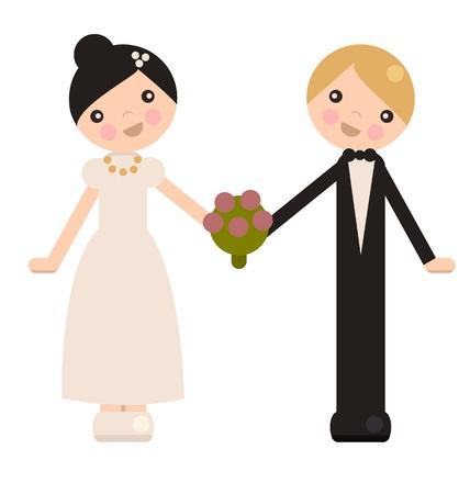 peg: Peg doll wedding couple, isolated vector